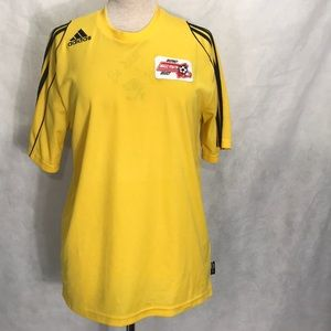"""Yellow """"Adidas"""" Jersey-style athletic t shirt"""